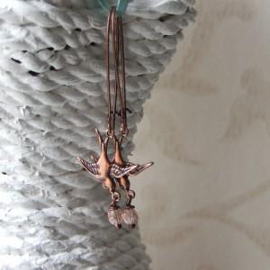 copper swallow earrings
