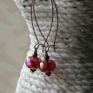 red crystal copper earrings