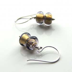 double grey gold earrings