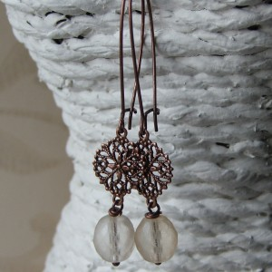 etched cream and copper round earrings