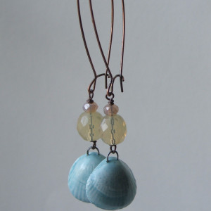 artwave blue ceramic shell earrings