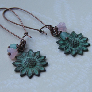 artwave patina sunflower earrings seamaidengemsjewellery1