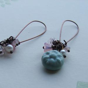 artwave round blue ceramic earrings1